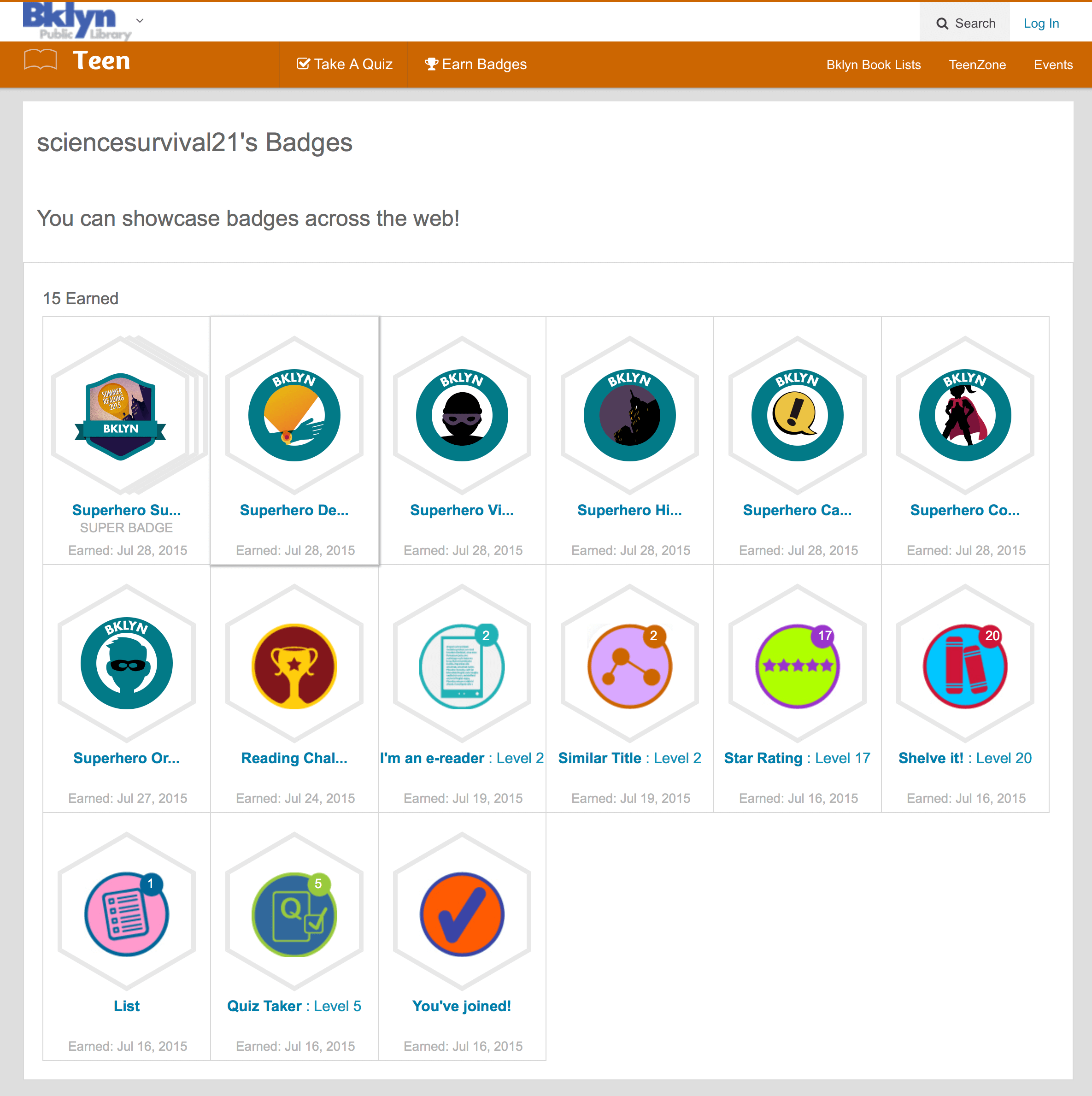 One user's earned badges in a summer site